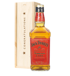 Jack Daniels Fire Whiskey Congratulations Gift In Wooden Box