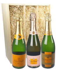 The Veuve Clicquot Collection Three Bottle Champagne Gift in Wooden Box