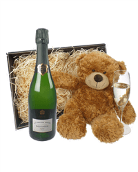 Bollinger Grande Annee Champagne and Teddy Bear Gift Basket