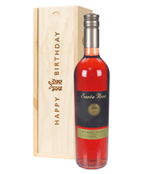 Argentinian Rose Wine Birthday Gift In Wooden Box