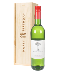South African Chenin Blanc White Wine Birthday Gift In Wooden Box