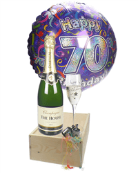 70th Birthday Champagne Flute Gift