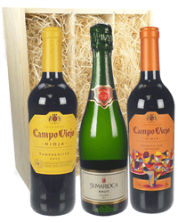 The Spanish Collection Three Bottle Wine Gift in Wooden Box