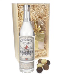 Portobello Road Gin And Chocolates Gift Set in Wooden Box