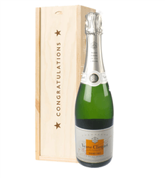 Veuve Clicquot Demi Sec Champagne Congratulations Gift In Wooden Box
