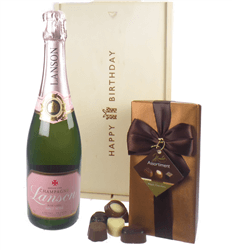 Lanson Rose Champagne and Chocolates Birthday Gift Box