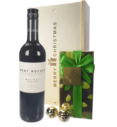 French Malbec Red Wine Christmas Wine and Chocolate Gift Box