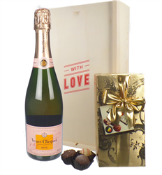 Veuve Clicquot Rose Valentines Champagne and Chocolates Gift Box