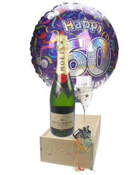 60th Birthday Gift - Moet Champagne - Balloon - Flute
