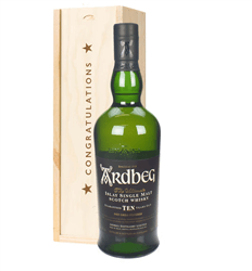 Ardbeg 10 Year Old Single Malt Whisky Congratulations Gift In Wooden Box