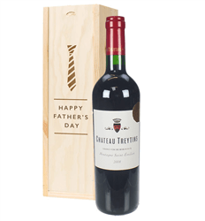 French Bordeaux Red Wine Fathers Day Gift In Wooden Box