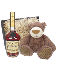 Hennessy VS Cognac and Teddy Bear Gift Basket