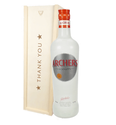 Archers Peach Schnapps Thank You Gift In Wooden Box