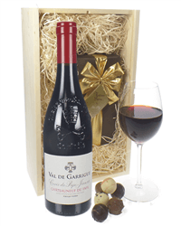 Chateauneuf Du Pape Wine and Chocolates Gift Set in Wooden Box