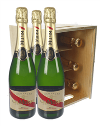 Mumm Champagne Six Bottle Wooden Crate