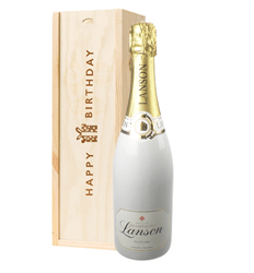 Lanson White Label Champagne Birthday Gift In Wooden Box