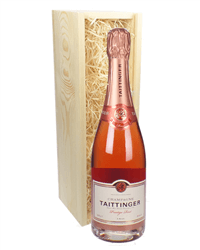 Taittinger Rose Champagne Gift in Wooden Box