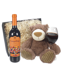 Campo Viejo Reserva Wine and Teddy Bear Gift Basket