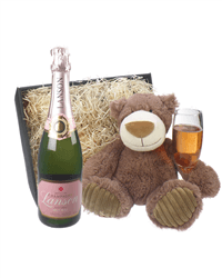 Lanson Rose Champagne and Teddy Bear Gift Basket