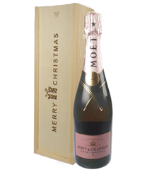 Moet et Chandon NV Rose Champagne Single Bottle Christmas Gift In Wooden Box
