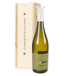 Sauvignon Blanc Chilean White Wine Congratulations Gift In Wooden Box
