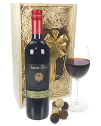 Malbec Wine Wine and Chocolates Gift Set in Wooden Box