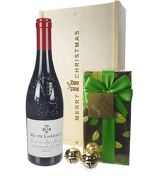 French Chateauneuf Du Pape Christmas Wine and Chocolate Gift Box