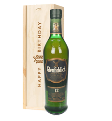 Glenfiddich 12 Year Old Single Malt Whisky Birthday Gift In Wooden Box