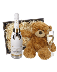 Champagne and Bear Gift Baskets