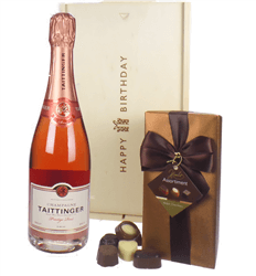 Taittinger Rose Champagne and Chocolates Birthday Gift Box
