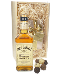 Jack Daniels Honey And Chocolates Gift Set in Wooden Box