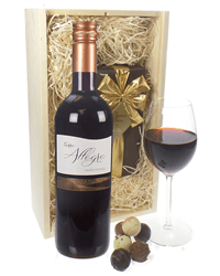 Sangiovese Wine and Chocolates Gift Set in Wooden Box