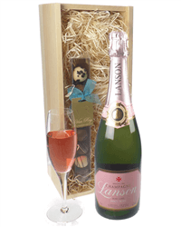 Lanson Rose Champagne and Chocolates Gift Set