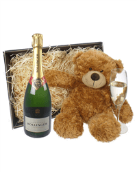 Bollinger Champagne and Teddy Bear Gift Basket