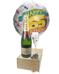 65th Birthday Gift - Moet Champagne - Balloon - Flute