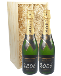Moet & Chandon Vintage Two Bottle Champagne Gift in Wooden Box