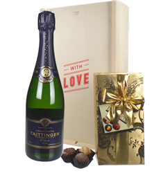 Taittinger Prelude Valentines Champagne and Chocolates Gift Box