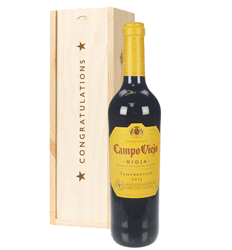 Rioja Tempranillo Red Wine Congratulations Gift In Wooden Box