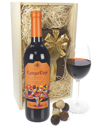 Rioja Reserva Red Wine and Chocolates Gift Set in Wooden Box