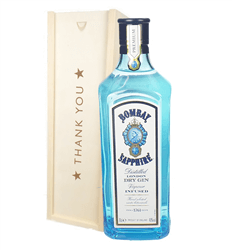 Bombay Sapphire Gin Thank You Gift In Wooden Box