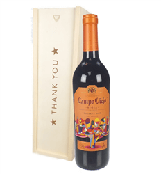 Campo Viejo Reserva Red Wine Thank You In Wooden Box