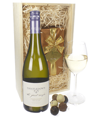 Australian Chardonnay White Wine and Chocolates Gift Set in Wooden Box