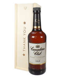 Canadian Club Whisky Thank You Gift In Wooden Box