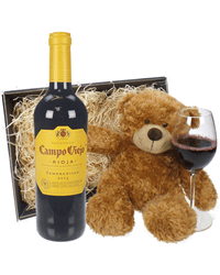 Rioja Tempranillo Wine and Teddy Bear Gift Basket