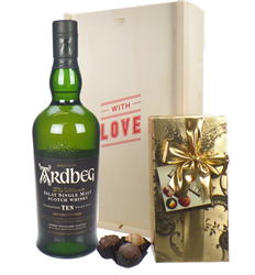 Ardbeg 10 Year Old Whisky and Chocolates Valentines Gift