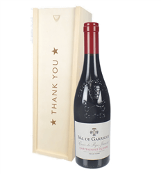 Chateauneuf Du Pape Red Wine Thank You Gift In Wooden Box