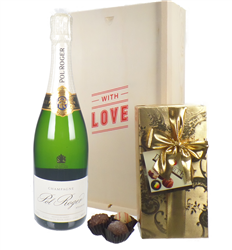 Pol Roger Valentines Champagne and Chocolates Gift Box