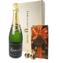 Lanson Christmas Champagne and Chocolates Gift Box