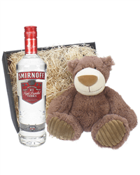 Smirnoff Vodka and Teddy Bear Gift Basket