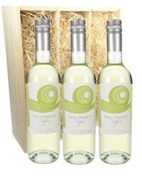 Pinot Grigio Three Bottle Wine Gift in Wooden Box